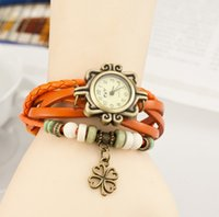 Wholesale Women see ms leather leather bracelet with retro watches A clover bracelet table female students