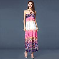strapless maxi dress - Bohemian Flora Printed Strapless Maxi Beach Dresses Fashionable and Elegant Maxi Casual Dress Sexy Dress