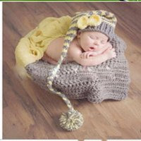 Winter accord manual - Children s photography clothing baby clothes according to one hundred days manual knitting hat long tail suit for boys and girls Grey yellow