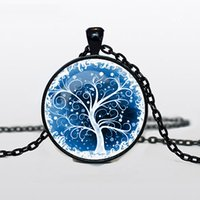 Wholesale 3 colors styles New Arrival Tree of Life Necklace Tree of Life Pendant Winter Scene Black Silver Bronze Charm Infinite jewelry