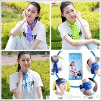 Wholesale 2015 hot NEW summer WOMEN Cool Water band wristBand speed to Cool Towel beach Cooling Scarf Ties Neck Scarves headband ice Belt TOPB3557