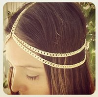 accessories for hairdressers - 2015 Real Women s Party Hairdresser for Hair Styling Tools Factory Direct Fashion Exquisite Double thick Chain Headband Accessories