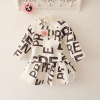 Cheap 2014 Fall Children Suits dress girls letter printing round collar long sleeve t-shirt tops+ skirt 2pcs sets kids clothes A5065