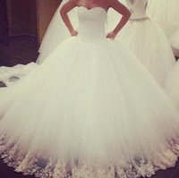 Wholesale 2015 Wedding Dresses Sweetheart Beaded Bodice Fluffy Princess Wedding Dress White Tulle Beaded Appliques Ball Gown Bridal Gowns GA23