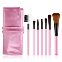 appliances for sale - 7Pcs Set Pink Make Up Cosmetic Brush Kit Makeup Brushes For Sale Toiletry Beauty Appliances Makeup Brush with PU Leather Bag