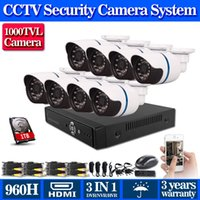 Wholesale 8CH CCTV System H DVR TVL IR Weatherproof Outdoor CCTV Camera Home Security System Surveillance Kits