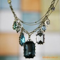 baroque gemstone necklace - 2015 Promotion Top Fashion Pendant Necklaces Gift Diamond Jewelry Factory Outlets Retro Necklace Multi baroque Square Gemstone Drop Sta129