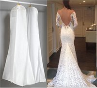 Wholesale White Larger Non woven Wedding Dresses Bags Dust Covers Bridal Gowns Storage Dustproof Garment Protectors Carrier Handmade For Trailing Gown