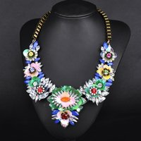big environment - Fashion necklaces European and American big item of jewelry grade alloy crystal simulation environment flower necklace statement necklaces