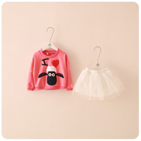 american goat - 100pcs new style baby girls goat printed sweaterlong sleeve bubble mesh skirt outfits Children clothes suits