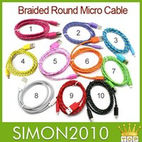 Wholesale 3m m m Fabric Braided Nylon Data Sync USB Cable Cord Charger Charging Coloful samsung s4 s5 blackberry z10 HTC Nokia and many other phone