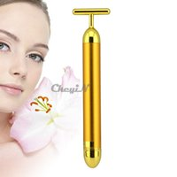 Wholesale Energy Beauty Bar K Gold Pulse Firming Massager Facial Roller Massage Facial Body Massage Relaxation MR002G