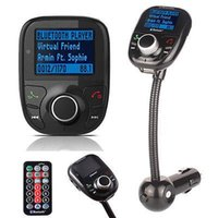 Wholesale Car Kit MP3 Bluetooth Player FM Transmitter Modulator Car Kit With LCD SD TF Card USB drive Remote FM Transmitter manos libres