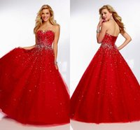 Wholesale 2015 Fashion Sweet Dress Sexy Full Figured Sweetheart Sleeveless Ball Gown Floor Length Crystal Sequins Beads Tulle Cheap Prom Dresses
