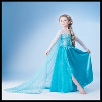 clothes dropship - Frozen Girl Dresses Elsa Ball Gown Blue Lace Princess Frozen Dresses Children Clothing Kid Dresses DHL Fast Dropship