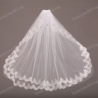 Wholesale Lace Bridal Veils Sparkling Crystal Wedding Veils Two Layers Elbow Length Short Bridal Veil For Weddng Dresses Bridal Accessories Cheap