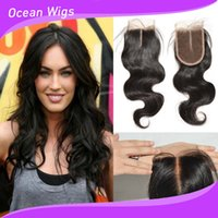 Wholesale Body wave quot quot Virgin Remy Brazilian Indian Peruvian Malaysian Cambodian Chinese European Human Hair Lace Closure quot Hand Tied