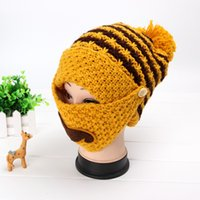 Wholesale 2016 Special Offer As Show Yarn Dyed Sets New Man Or Woman Winter Knitted Hat And Breathing Mask Warm Velvet Cap Colors