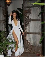 Wholesale Celebrity Kim Kardashian Deep V Neck Long Sleeve Split Prom Maxi Dress High Side Double Slit Long Evening Party Dress White Red Black