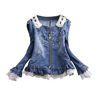 best ladies jeans - Best selling and retail ladies lace jeans coat pearl collar women denim jacket female cowboy wear