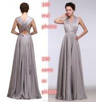 Wholesale Sexy Prom Dresses Gray In Stock Real Model Show Criss Cross Floor Length Column Halter V Neck Sleeveless Elegant Long Evening Dresses