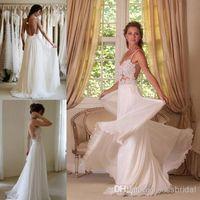 Cheap 2015 Boho Lace Appliqued Beach Wedding Dresses Spaghetti Straps Backless A-Line Chapel Train White Chiffon Bridal Gowns 4175