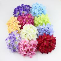 Wholesale 11cm double layer Hydrangea Head Artificial Silk Flowers For Wedding Decoration Floristry Fake Flower pieces