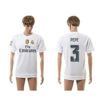 15-16 Nueva Temporada Real Madrid en Casa Camisetas de Fútbol Blanco #3 Pepe Camisetas de Fútbol de Descuento Camiseta de Fútbol Tailandia Calidad Fútbol Uniforme para los Hombres