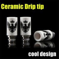 Wholesale Eagle Style Drip Tips Muffler Ceramic Drip Tip Eagle Printed Wide Bore Drip Tip for rda Vivi Nova DCT EVOD E Cigarettes