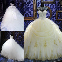 Wholesale Striking Chapel Trains Wedding Dresses Church Sweetheart Beads Crystal Appliques Big Bow Back Ball Gown Wedding Dresses Bridal Gowns HDY