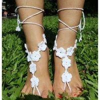 Wholesale MANGA Fashion Handmade Knit Crochet Cotton Barefoot Sandals Flower Foot Infinity Pool Beach Resort Wear Anklets