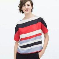 western clothing - Stripes Batwing Sleeve Tos Women Loose Blouse Silk Fabric Stylish Scoop Neck Asymmetric Design Fashion Shirts Western Fashion Women Clothing