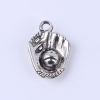 baseball charm bracelets - New fashion silver copper retro Baseball glove pendant Manufacture DIY jewelry pendant fit Necklace or Bracelets charm x