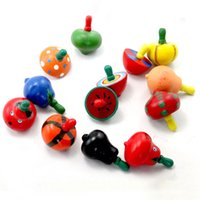 Wholesale 2016 New Colorful Fruit Design Wooden Funny Gyro Spinning Top Peg Top Kid Educational Toy