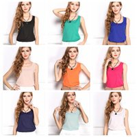 women tank top - 2015 New Arrival Cheapest Fashion Women Basic Chiffon Sleeless Shirt Blouse Tanks Tops Brand New Candy Colors Available