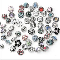 Wholesale 100pcs High quality Mix Many styles mm Snap Button Charm Rhinestone Styles Button Ginger Snaps Jewelry