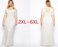 chiffon maxi dresses - 2015 Plus Size Women Dresses XXL XL Lace Hollow Out Short Sleeves Crochet Top Chiffon Sexy Plus Size White Maxi Dresses Vestidos Longo