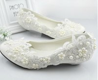 white lace wedding shoes - White Wedding Shoes Princess Crystal Pearl Wedding Dress Bride Shoes Bridemaid Shoes Manmade White Lace Shoes Lowheel
