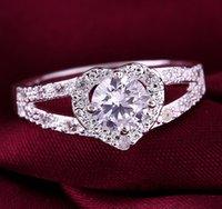 Wholesale fashion sterling silver heart diamond wedding ring R19