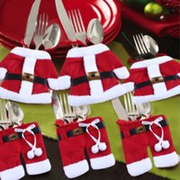 Wholesale Cultery Tableware Knife Fork Holders Santa Clothes Style Silverware Bags Cover Suit Christmas Festive Party Supplies