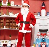 Санта костюмы Цены-Счастливого Рождества!! Ребенок Санта-костюм девочек и мальчиков Новый костюм Рождество набор одежды Подарки для ребенка HAT + Beard + Одежда + ремень + тяжелое дыхание нового !!