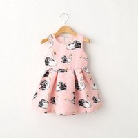 airs cute clothes - 2015 autumn girls rose floral Swan print dress cute air layer cotton princess vest dresses kids clothing