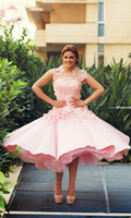 arab tea - Pink Prom Dresses With Illusion Cap Sleeves Ruffly Skirt Vintage Tea length Formal Gowns Arab Homecoming Party Dress