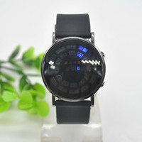 balls silicone watch - 1pcs Unisex Blue LED Roll Ball Style Display Black Band Wrist Watch Noctilucent Wristwatch with Calendar X60MPJ754W s1