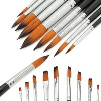 Wholesale 9pcs set Price Artists Paint Brush Set Acrylic Watercolor Brush Two Type Flat Or Round Pointed Tip Nylon Hair
