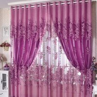 Wholesale 100 CM Flower Design Finished Rustic Organza Tulle Fabric Sheer Curtains for Home AF0164