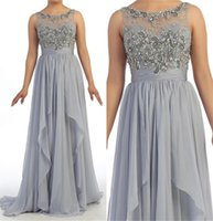 Wholesale Vintage Gray Evening Dresses Wear Jewel Beading Women Prom Formal Dress Mother Of Bride Groom Gowns Wedding Party Plus Size Custom Made