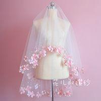 Wholesale Pink Patel Fingertip length Veils One Tiers Bridal Veil White ivory Tulle Bridal Wedding Veil Edge custom made