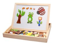 Wholesale Multifunctional Educational Animal Wooden Magnetic Puzzle Toys for Children Kids Jigsaw Baby s Drawing Easel Board WJ06