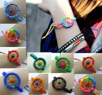 Wholesale DREAM CATCHER JEWELRY BRACLETS Fashion Leather Cute handmade Charm Campanula Dream Catcher Bracelet